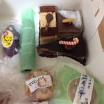 いちかわ - マルジョレーヌ、コーヒーとクルミのケーキ、チョコのケーキ、紫芋のスイートポテト、酒加寿の命、マロンパイ