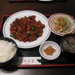 6056640 - 今日の定食 鶏肉黒味噌炒め