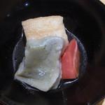 京豆冨不二乃 - おあげと生麩・野菜の炊き合わせ