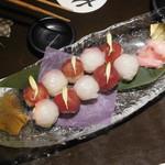 戦国武勇伝 - 【〆物】【江戸の泰平】  寒鰤と鮪の紅白手毬寿司