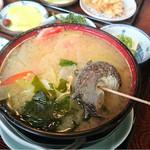 ごん太 - 料理写真:いけんだ煮味噌定食  サザエや金目鯛切り身、野菜の優しい味。まずはこれを。