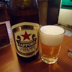 立呑み きど藤2 - サッポロラガー「赤星」中瓶。390円だったかな。