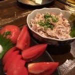 村崎焼鳥研究所 - 冷しトマト&酢もつ