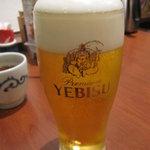 とんかつ浜勝 - エビス生 530円、グラスに年季。