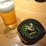 60652840 - キリン一番搾り生ビールとお通しです