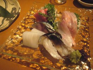 前菜坊 風神 - お造り・小盛り:鮪、〆鯖、やりいか、金目鯛、石鯛、とり貝