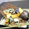 Wagokoro Izumi - 料理写真:焼き八寸 鰆塩焼き 金時人参とほうれん草の白和え からすみ飯蒸し 豆腐もろみ漬け いくら醤油漬け とんぶり山葵和え カステラ玉子