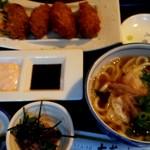大菊 - カキフライ定食 カキフライ、ねぎトロ小鉢、にかけうどん。