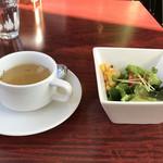 フェイス ステーキ&ハンバーグ - スープとサラダ