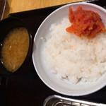 天ぷらめし 天之助 - 味噌汁、ごはん、たらこ