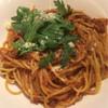 ボッソ - 料理写真:期間限定の千葉県産なでしこポークの肉味噌で作ったミートソーススパゲッティ春菊のせ ¥1,380