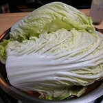 神戸ちゃんこ部屋 - トマトちゃんこ鍋 1回戦め 白菜が蓋代り(笑)