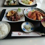 ジョイハウス - サイコロステーキと小エビフライ定食 1,000円