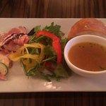60750263 - ワンプレートのサラダ・スープ・パン