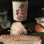 60756721 - 2017年正月。カンパチと雪の茅舎 純米吟醸 秋田県。