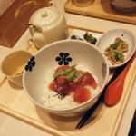 だし茶漬け えん - 漬け鮪の漁師風・普通盛り(800円)2016年12月