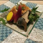 Terasawa - 料理写真:煮鮑に肝、万願寺唐辛子に丸十に茗荷の甘酢漬