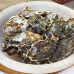 島田水産 - 洗面器に入った牡蠣 なくなれば、次の洗面器を取りに行きます