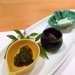こてら - トンブリと菊菜のゼリー寄せ、白魚、アミ茸