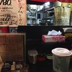 西松家 梅田店 - カウンター席(箱ティッシュ完備・ネギ入れ放題)