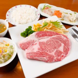 神戸牛リブロースのステーキセット