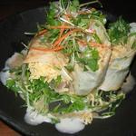 608859 - 水菜と播州地鶏を軽く炙って湯葉で巻いたサラダ¥750ほど。