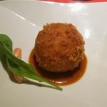 風のテラスKUKUNA - 夕食コース:クラブ—ケーキ KUNANA風 (茹で卵まるまる一個入った蟹クリームコロッケに)