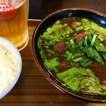 あらかわ食堂 - 牛汁¥850 オリオン生¥450