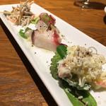 MiKiya's ぐりぐり - 前菜3種盛り合わせ 金平牛蒡のクリーム和え 蛸のマリネ ポテトサラダ