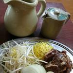 成吉 - ロース成吉思汗定食一人前(1280円)。これにライス・味噌汁・沢庵付