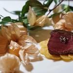 レストラン パッショーネ - 蝦夷鹿シンタマのロースト フルーツホオズキ添え