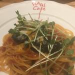 フラッグスカフェ&ダイニング - 豚肉と空豆のトマトスパゲティ¥1200