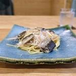 Obase - 大阪湾のイワシのパスタ、   ミョウガ、焼きナス