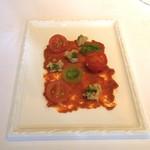 レストラン サンパウ - ソブラサーダ、トマト、パン、オリーブオイル(2016.11)