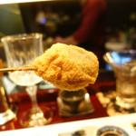 串揚げはやし - 2016/12_牛ひき肉と椎茸