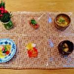 祇園おくむら - 『前菜盛り合わせ』!! 『ヨコワマグロのぬた和え』『ふぐのスープ』など5種類~♪(^o^)丿