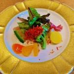 祇園おくむら - 『帆立とオマール海老と生ハムのサラダ』!! カリフラワーのムース、オレンジ、トマトのソース、京人参のフライスライスがけ~♪(^o^)丿