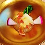 祇園おくむら - 『ヒラメのお刺身のカルパッチョ』!! 三杯酢のドレッシング、上に柚子のシャーベット、周りに、かぶ、菜の花、柿のドライフルーツ添え~♪(^o^)丿