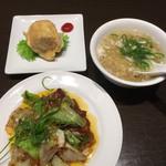 あたか飯店 - 回鍋肉、スープ、卵皮の春巻き