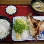 竹野鮮魚 - 日替り定食(ブリかま塩焼き)@600