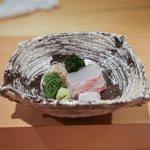 神楽坂 石かわ - 平目のお造り、浜名湖の青海苔が美味しい