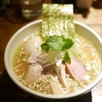 神田とりそば なな蓮 - とりそば 塩¥800 +味付け玉子(クーポン無料・通常¥100)