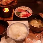 いやしの里 樹やしき - 御 飯:小国産あきげしき米 香 物:自家製お漬物 止 椀:大根の味噌汁