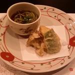 いやしの里 樹やしき - 油 物:天ぷらと茶そば