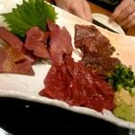 肉バルGABURICO - 桜ファーム直送 新鮮馬肉の3種盛り合わせ