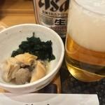 つきぢ神楽寿司 - お通しとビール