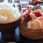 60928194 - お刺身のセット。まるで日本昔話のような大盛りご飯。