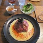 Cave - ランチ 国産牛ローストビーフ丼 サラダ、スープ付き