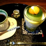 60979604 - 抹茶プリンパフェ & コーヒー