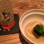 調整 - 北海道鰊と旬野菜炊き合わせ里芋餡とズワイ蟹と洋野菜のサラダ ソースオーロール(2016年1月)